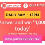 Amazon Quiz Time-Answer & Win Free Rs.1000 (10th December)