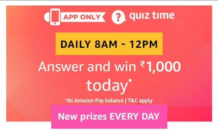 Todays Answers Amazon Quiz Time Daily 8 12 Correct Ans Of Amazon Quiz