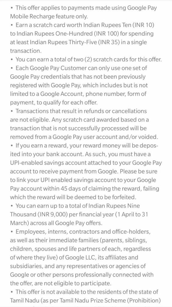 Google Pay Recharge Offer-Get Upto ₹100 Scratch Card On ₹35+ Recharge