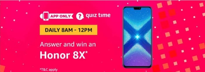 All Answers) Amazon Quiz Time - Answer and Win Honor 8x - Free