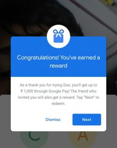 Google Duo Refer & Earn- Invite friends & Get Free Tez Scratch Cards