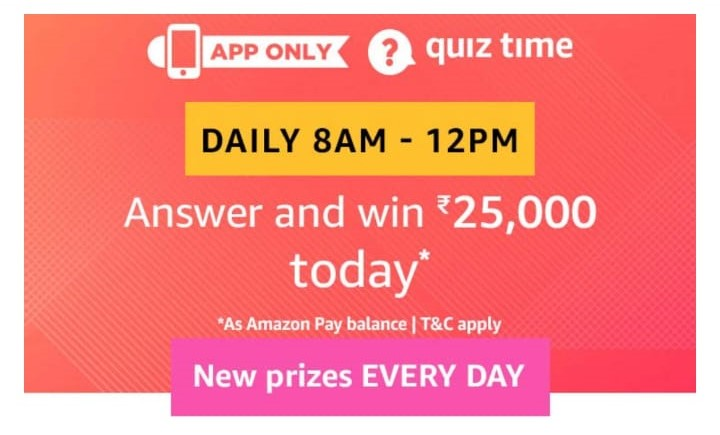 Amazon 4th January Quiz Answer- Free Rs 25000 - Free