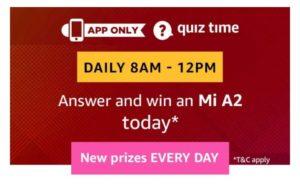 All Answers) Amazon Mi A2 Quiz - Answer and Win Mi A2 - Free