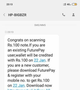 [BIG] Free ₹100 In Future Pay Wallet By Scanning ₹100 Note