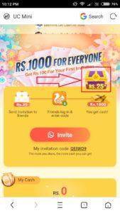 (Mega Loot) UC Mini- Get ₹50 PayTM Cash/Refer+₹75 PayTM Recharge Code