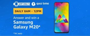 Amazon Quiz 24th February Answers - Win Free Samsung Galaxy M20