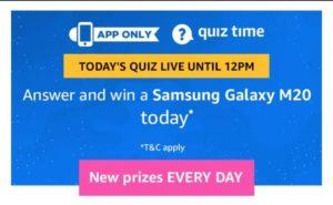 Amazon Quiz 24th February Answers - Win Free Samsung Galaxy M20
