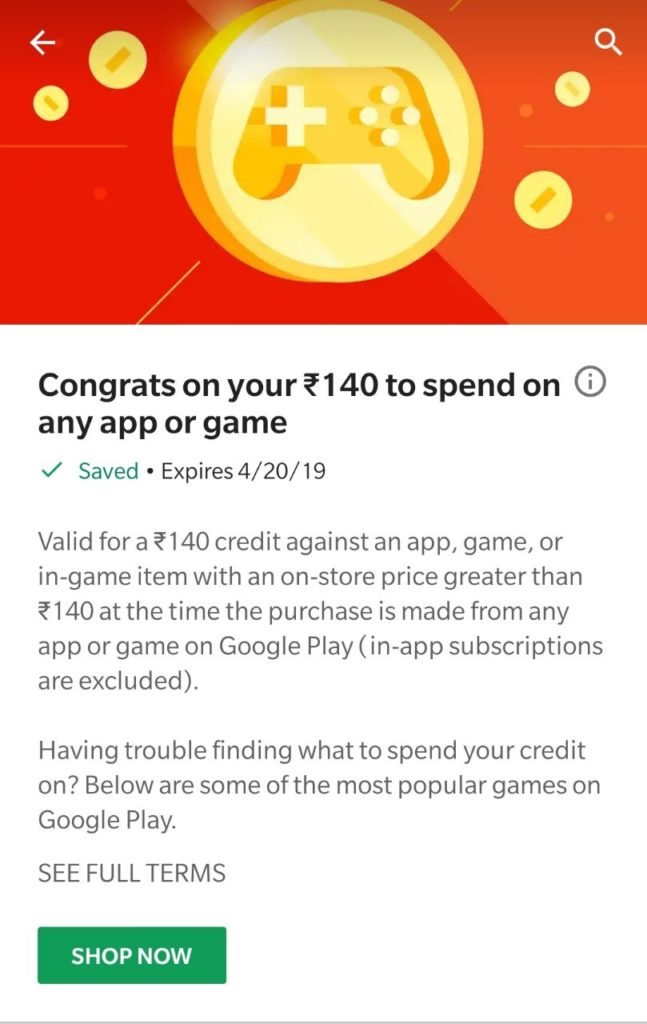 User Specific) Get Free ₹140 Google Play Credits | Check Now