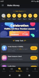 VidMix App - Get Free PayTM Cash Up To ₹100 On Signup + ₹6/Refer