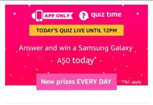 Amazon Samsung Quiz – Answer & Win Samsung Galaxy A50
