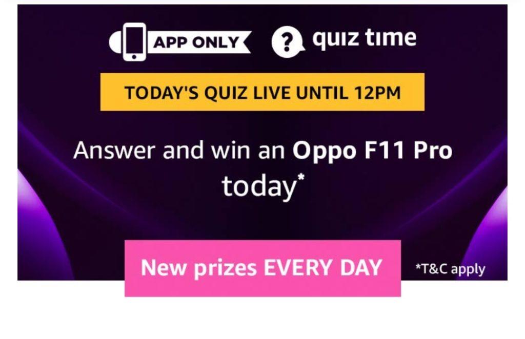 All Answers)Amazon Oppo F11 Pro Quiz - Win Oppo F11 Pro