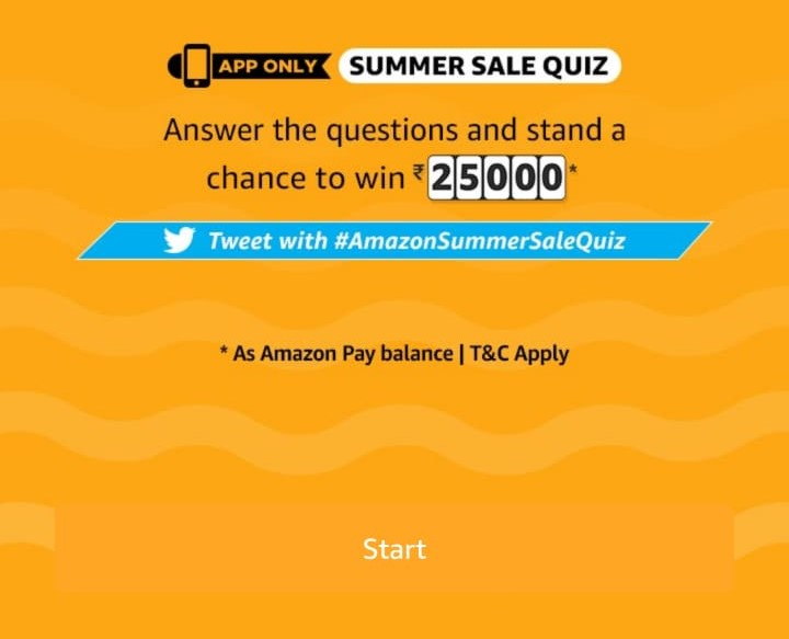 All Answers)Amazon Summer Sale Quiz – Answer and Win Rs