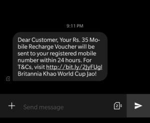 Loot) Britannia Worldcup Challenge- ₹35 Free Recharge/PayTM Cash