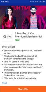 Get 3 Month Viu Premium Subscription Free From Flipkart