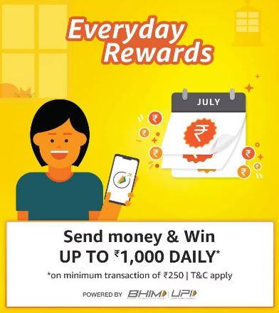 Amazon UPI Send Money Offer - Get Upto ₹1000 Back + Refer