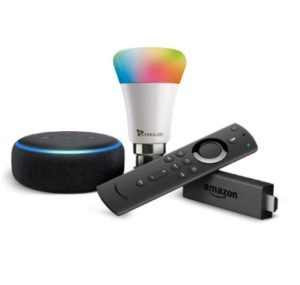 Amazon Echo Dot+Fire TV Stick+Wipro Smart Bulb