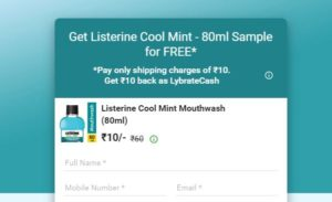 (Freebies) Listerine Cool Mint Mouthwash Sample for FREE In Lybrate