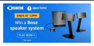 Today's Answers] Amazon Quiz Answers Today- Win Bose Speaker