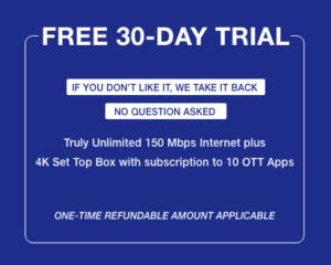 Jio Fiber 30 Days Free Trial Offer