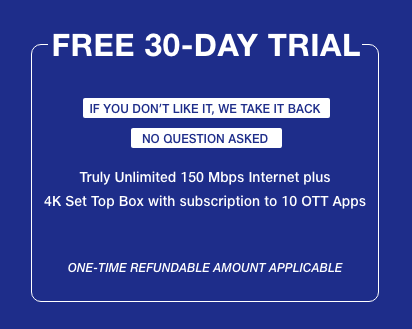 Jio Fiber 30 Days Free Trial Offer