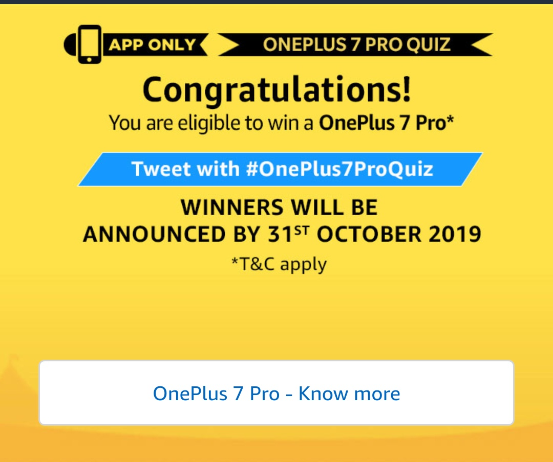 All Answers] Amazon OnePlus 7 Pro Quiz - Win Free OnePlus 7 Pro