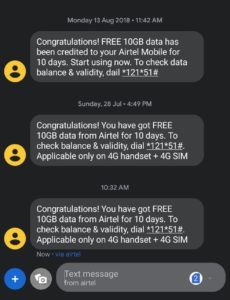 Airtel 10 GB Free Data Missed Call Number | Get Free 4G
