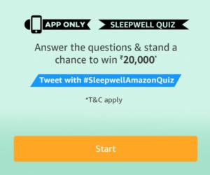 Amazon Sleepwell Quiz Answers