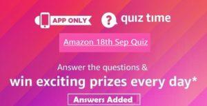 Amazon 18th September Quiz Answers