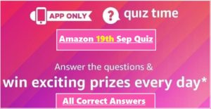 Amazon 19th September Quiz Answers