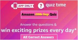 Amazon 20th September Quiz Answers