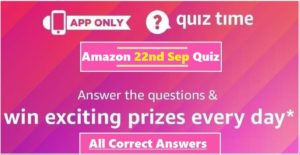 Amazon 22nd September Quiz Answers