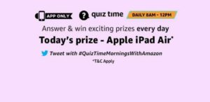Amazon 27 September ipad Air Quiz Answers