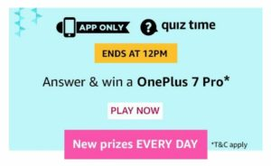 Amazon 11th September Quiz Answers
