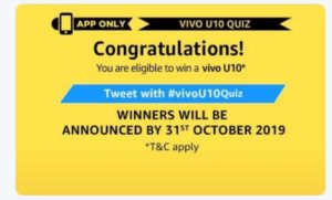 Amazon Vivo U10 Quiz Answers