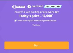 Amazon ₹5000 Pay Quiz