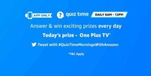 [Answers] Amazon 2nd November Quiz - Win OnePlus TV