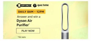 Amazon Dyson Air Purifier Quiz - 16th November