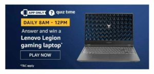 Amazon Lenovo Gaming Laptop Quiz Answers - 22nd November