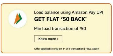 Amazon Add Money Offers - Get Free ₹50 Back On Adding Money
