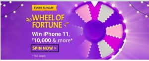 Amazon Wheel Of Fortune Spin & Win – Prizes Worth ₹10000 | iPhone 11 & More