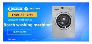 Amazon Bosch Washing Machine Quiz Answers