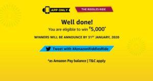 Amazon Riddles Ride Quiz – Answer & Win free ₹5000 Pay Balance