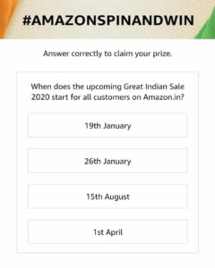 Amazon Great Indian Sale Spin & Win - Answers | 50000 Winners