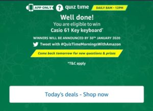 Amazon Quiz Answers - Today's Answer Of Casio 61 Key Keyboard Quiz