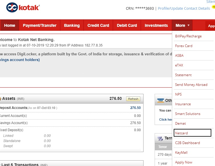 How To Get Net Card From Kotak 811