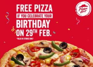 Pizza Hut Birthday Free Pan Pizza Offer