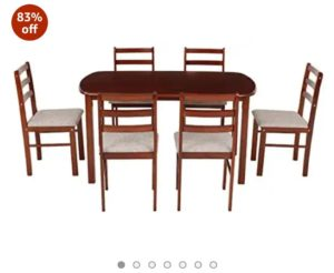 Woodness Daisy 6 Seater Dining Table Set In Just Rs 7229(Worth Rs 43500)