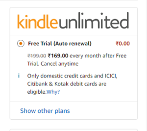Amazon KindleUnlimited Free Subscription