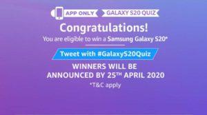 AmazonSamsung Galaxy S20 QuizAnswers