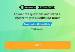Amazon Redmi 8A Dual Quiz Answer